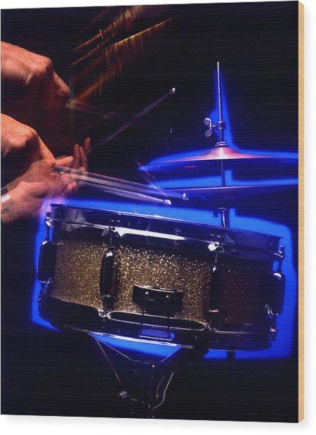 Drumming Hands Wood Print