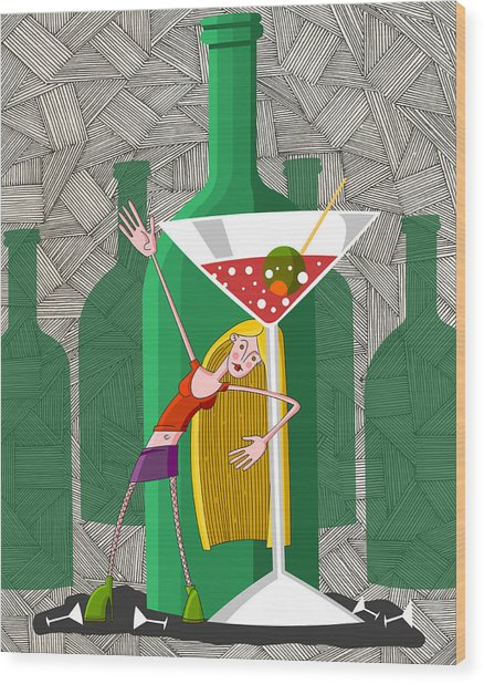 Drunk Young Woman In Party With Martini Glass Wood Print