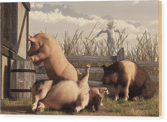 Drunken Pigs Wood Print