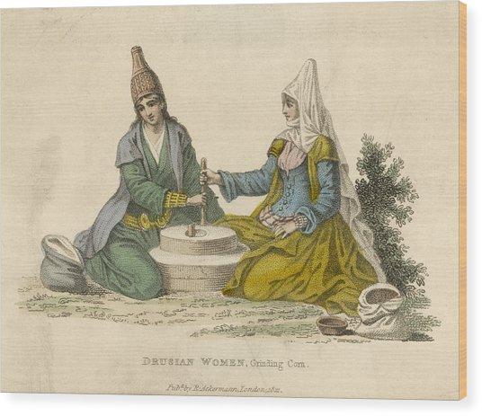 Druse Women Of The Lebanon Grinding Wood Print