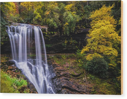 Dry Falls Along The Cullasaja River Wood Print