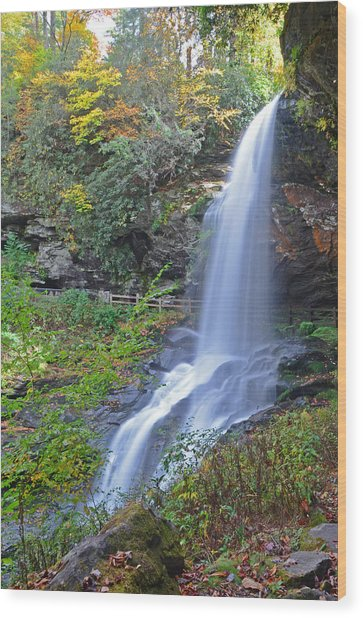 Dry Falls In Highlands Nc Wood Print by Mary Anne Baker