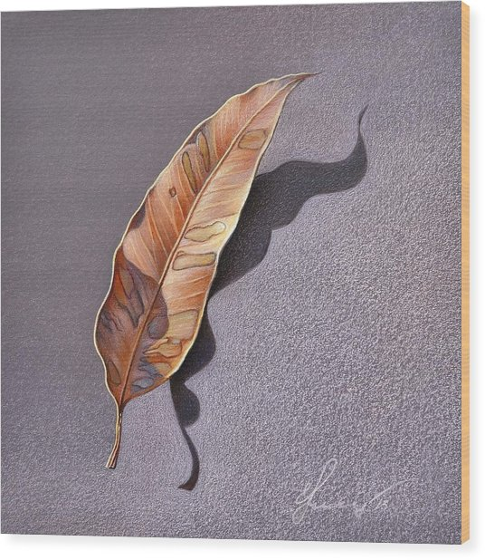 Dry Leaf Wood Print by Elena Kolotusha