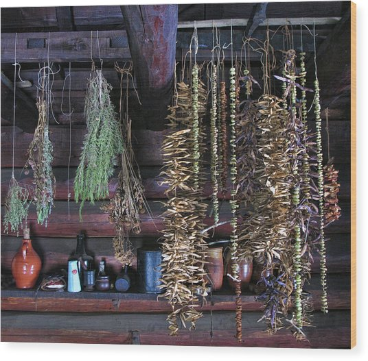 Drying Herbs And Vegetables In Williamsburg Wood Print
