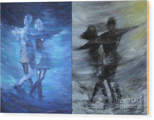 Dual Dancing In The Rain Wood Print by Roni Ruth Palmer