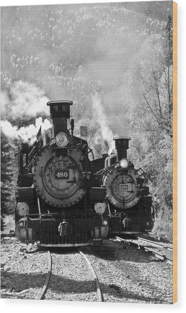 Dual Steam Engines Wood Print
