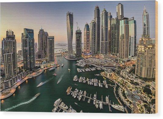 Dubai Marina In The Evening Wood Print by © Naufal Mq