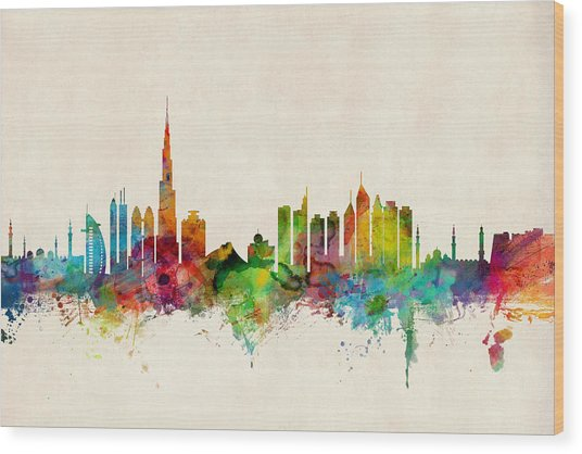 Dubai Skyline Wood Print