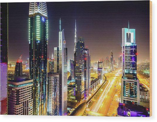 Dubai Skyscrapers, United Arab Emirates Wood Print by Mbbirdy