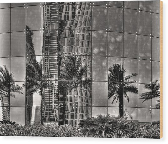 Dubai Street Reflections Wood Print