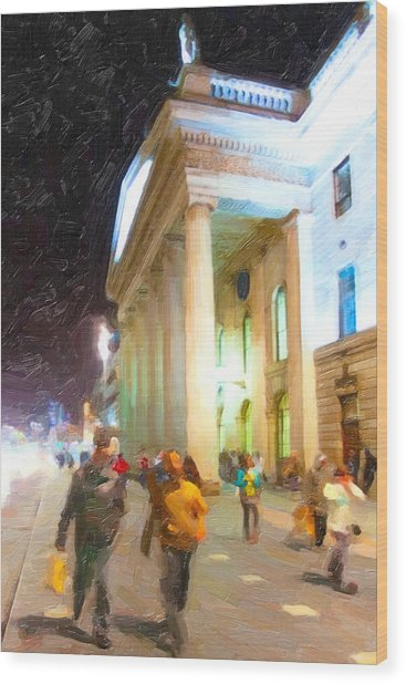 Dublin Ireland Post Office At Night Wood Print by Mark Tisdale