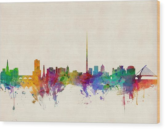 Dublin Ireland Skyline Wood Print