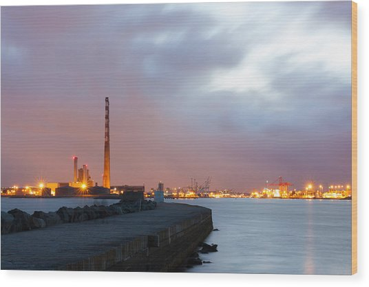 Dublin Port At Night Wood Print