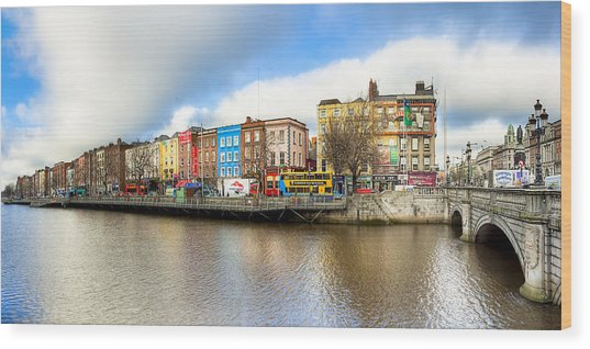 Wood Print featuring the photograph Dublin River Liffey Panorama by Mark E Tisdale