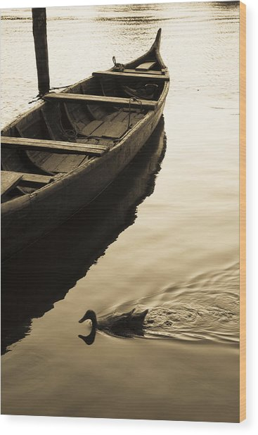 Duck And Boat Wood Print
