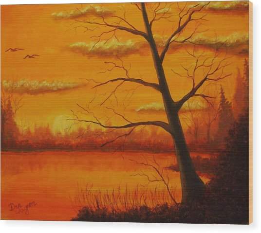 Duck Sunset Wood Print