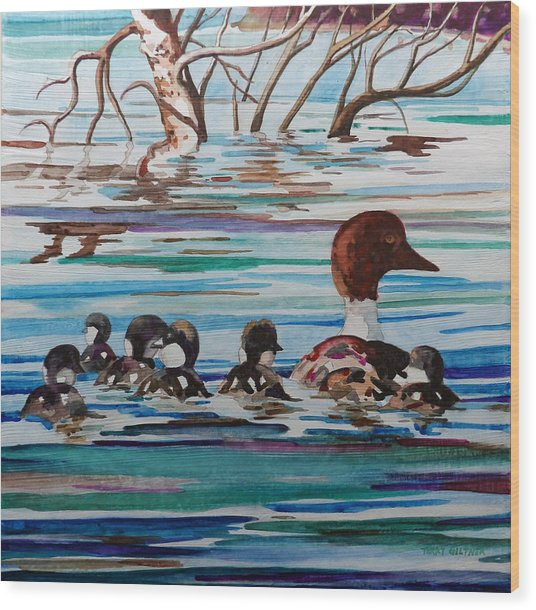 Ducks In A Row Wood Print