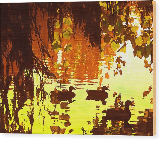 Ducks On Red Lake Wood Print