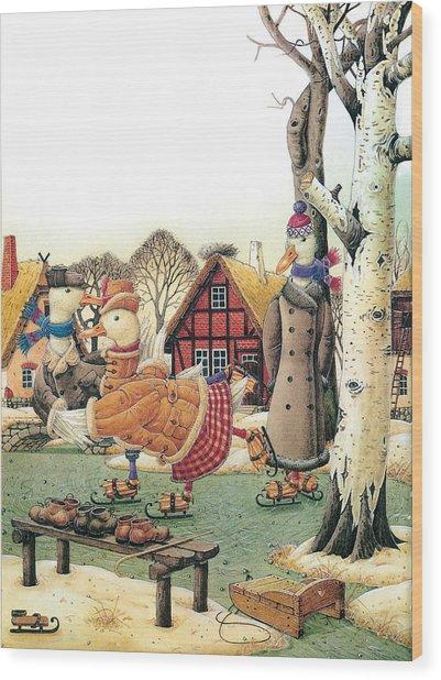 Ducks On Skates Wood Print by Kestutis Kasparavicius