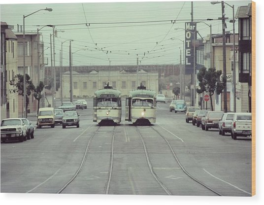 N Judah Dueling Streetcars.  End Of Judah Street.  1970s. Wood Print