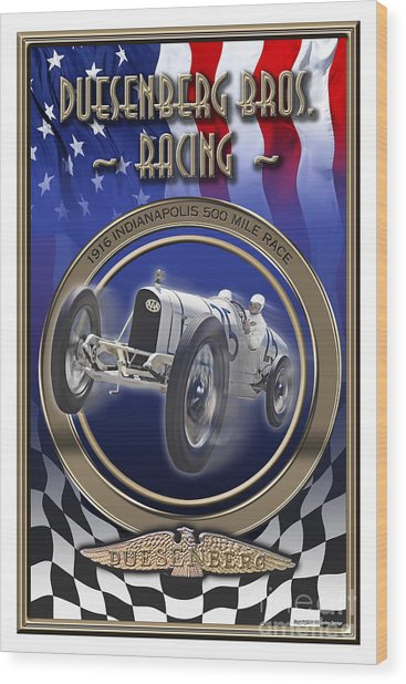 Duesenberg Bros. Racing Wood Print