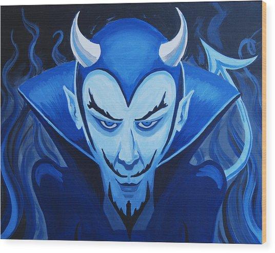 Devil Who Is Blue Wood Print