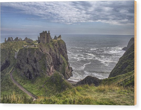 Dunnottar Castle And The Scotland Coast Wood Print