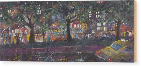 Dupont In The Rain Wood Print
