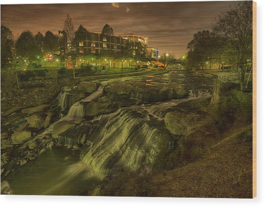 Dusk At Falls Park Greenville Sc Wood Print by Joel Corley