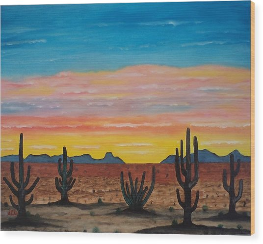Dusk At Sonoran Desert Wood Print by Jorge Cristopulos