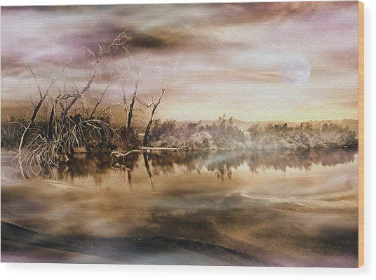Dusk At The Pond Wood Print