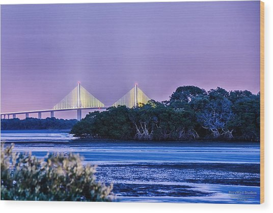 Dusk At The Skyway Bridge Wood Print