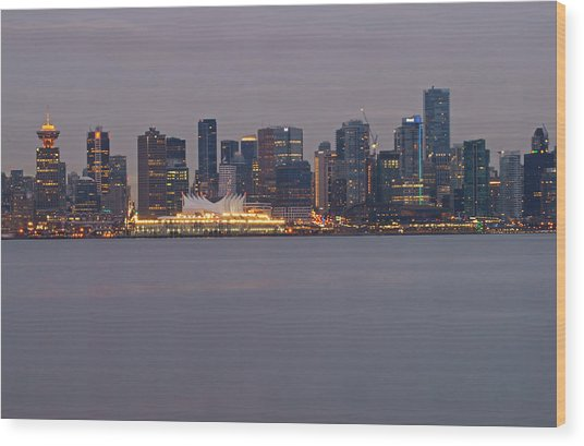Dusk In Vancouver Wood Print by Ann  Badjura