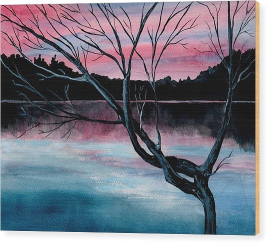 Dusk Lake Arrowhead Maine  Wood Print