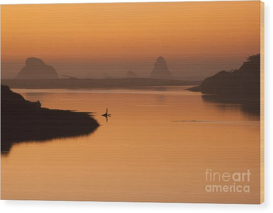 Dusk On Russian River - 7058 Wood Print by Stephen Parker