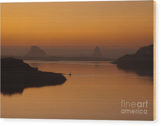 Dusk On Russian River 1.7062 Wood Print by Stephen Parker