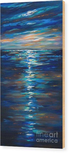 Dusk On The Ocean Wood Print