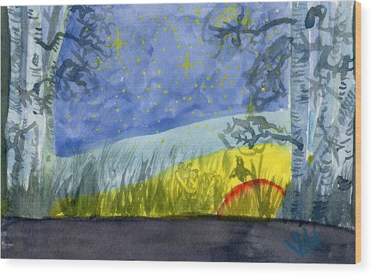 Dusky Scene Of Stars And Beans Wood Print