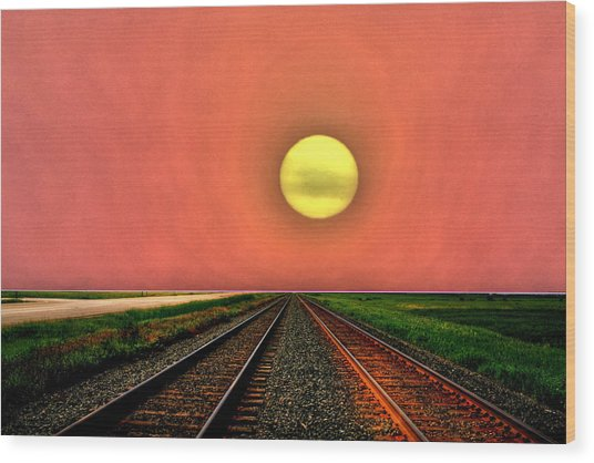 Dustbowl Sunset Wood Print