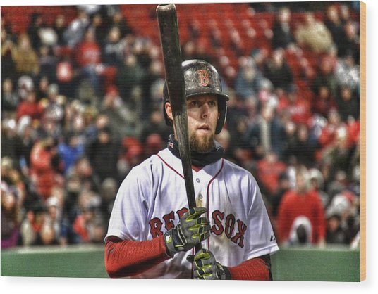 Dustin Pedroia Wood Print by SoxyGal Photography