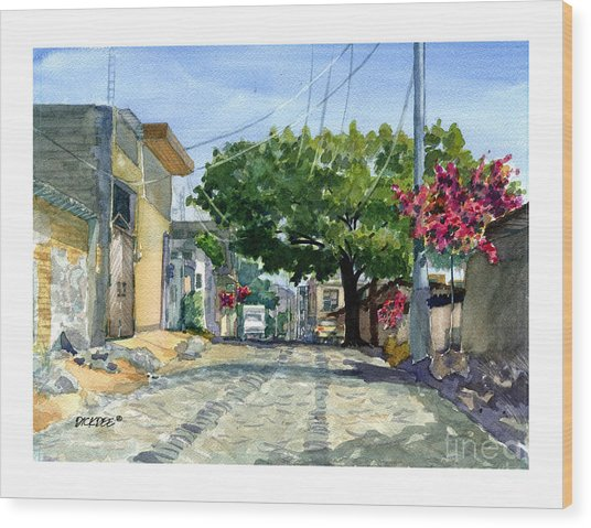 Dusty Backstreet In Ajijic Wood Print