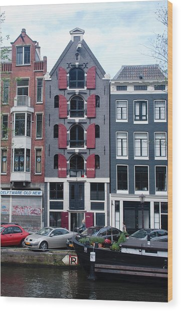 Dutch Canal House Wood Print