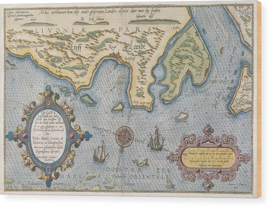 Dutch Trade Map Of The Baltic Sea Hand-coloured Engraving Wood Print