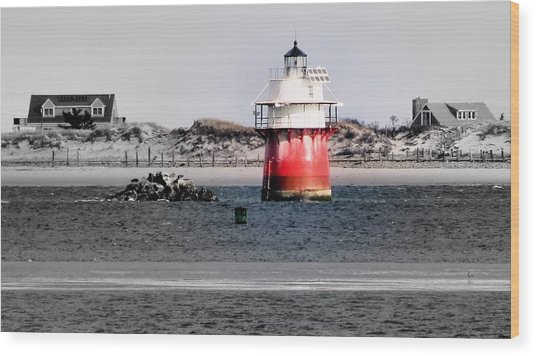 Duxbury Pier Light Wood Print