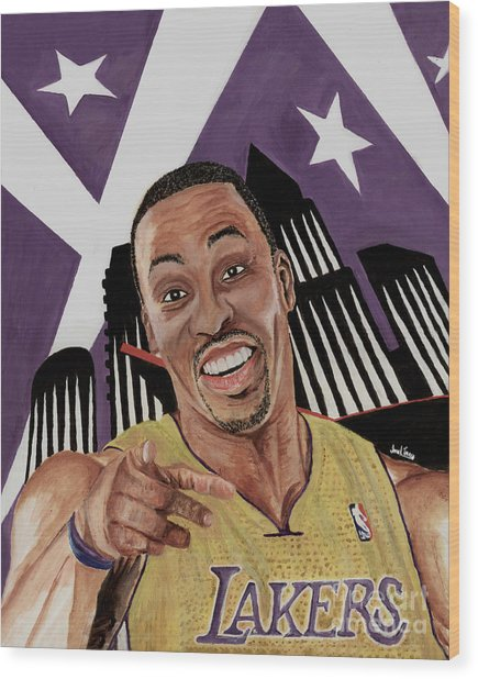 Dwight Howard Welcome To The  Lake Show Wood Print by Israel Torres