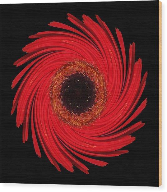 Dying Amaryllis Flower Mandala Wood Print