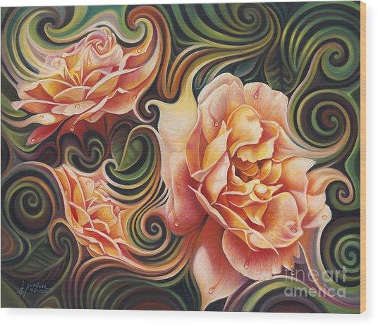 Dynamic Floral V  Roses Wood Print