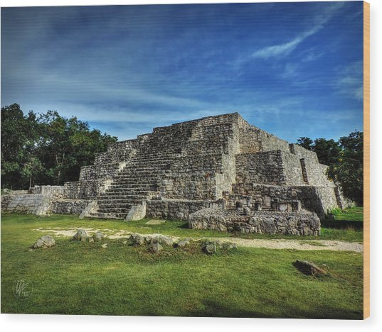 Wood Print featuring the photograph Dzibilchaltun Pyramid 002 by Lance Vaughn