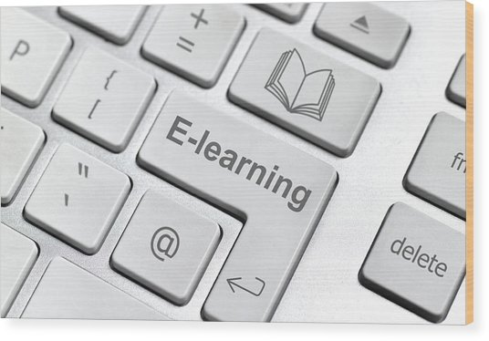 E-learning Keyboard Wood Print by Peter Dazeley