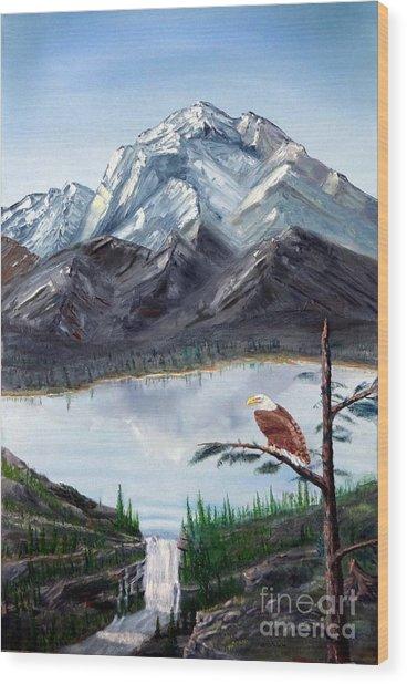 Eagle At Denali Wood Print by Stephen Schaps